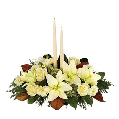 White Magnolia Christmas Centerpiece (BF286-11)